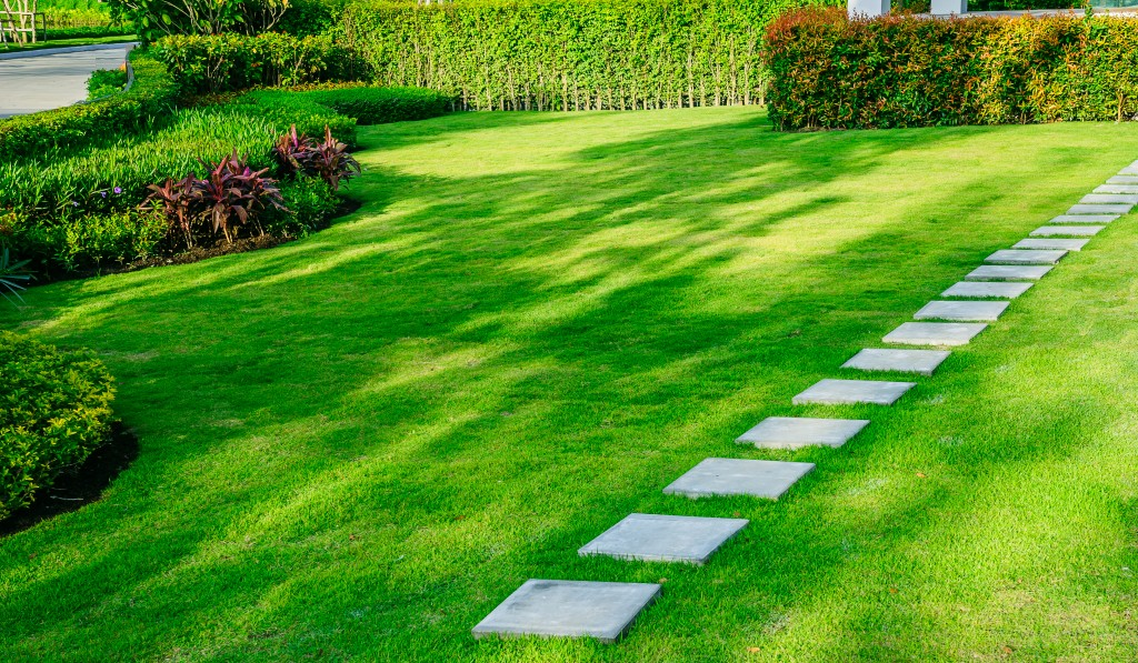 green lawn with garden and pathway