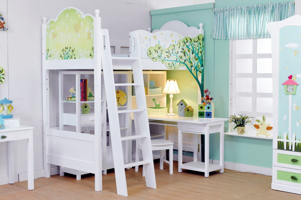 Child's room with white bed and Light color window