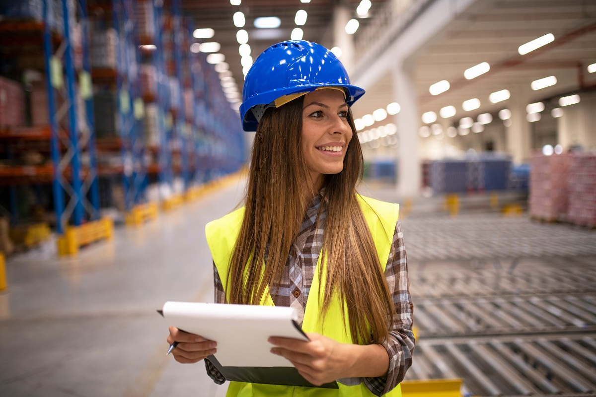 woman inspecting workplace