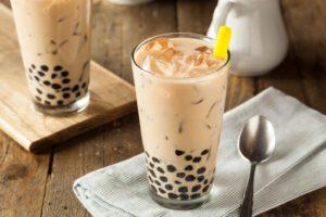 milk tea in a glass