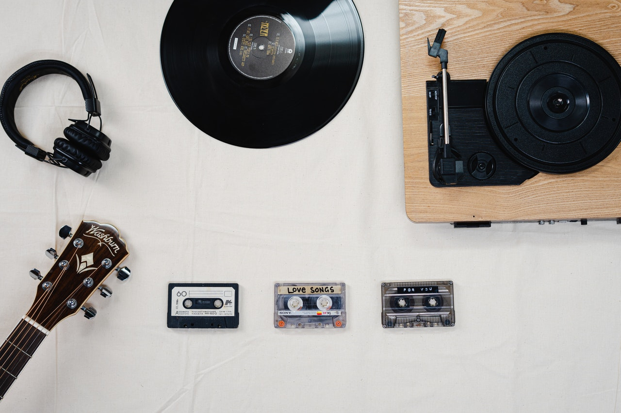guitar cassette tapes record and record player