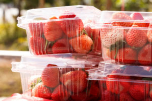 strawberries in plastic containers